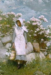 Girl and Laurel, 1879 by Winslow Homer | Painting Reproduction