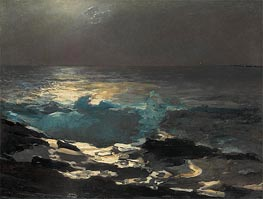 Moonlight, Wood Island Light, 1894 by Winslow Homer | Painting Reproduction