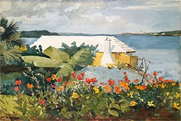 Flower Garden and Bungalow, Bermuda | Winslow Homer | Painting Reproduction