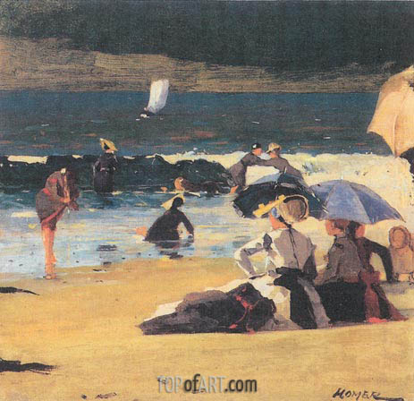By the Shore, c.1870   Winslow Homer   Painting Reproduction