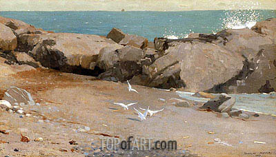 Rocky Coast and Gulls, 1869 | Winslow Homer | Painting Reproduction