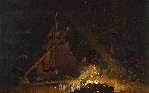 Camp Fire, 1880 | Winslow Homer | Gemälde Reproduktion