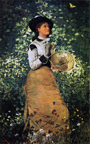 The Butterfly Girl, 1878 | Winslow Homer | Gemälde Reproduktion