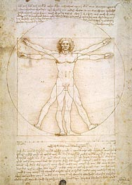 Vitruvian Man (The Proportions of the Human Figure), c.1492 by Leonardo da Vinci | Painting Reproduction