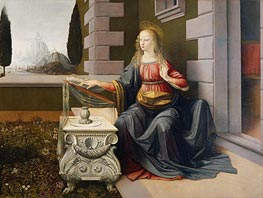 The Annunciation (Detail of Virgin) | Leonardo da Vinci | Painting Reproduction