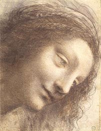Head of the Virgin, c.1508/12 by Leonardo da Vinci | Painting Reproduction