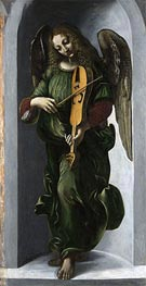 An Angel in Green with a Vielle, b.1506 by Leonardo da Vinci | Painting Reproduction