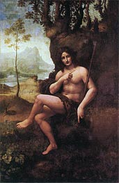 St John the Baptist (with the Attributes of Bacchus), c.1513/19 by Leonardo da Vinci | Painting Reproduction