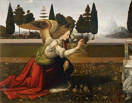 The Annunciation (Detail of Angel) | Leonardo da Vinci | Painting Reproduction