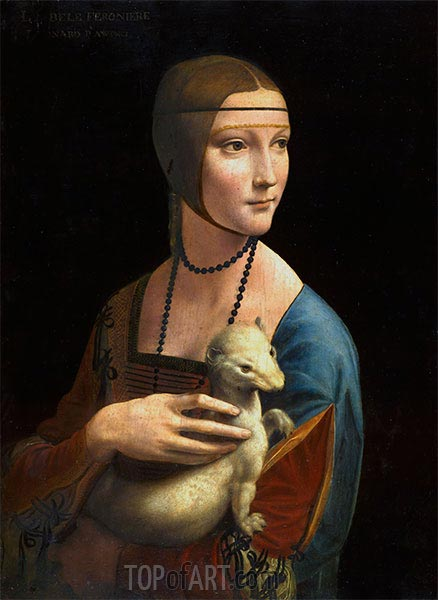 Lady with an Ermine (Cecilia Gallarani), 1496 | Leonardo da Vinci | Painting Reproduction