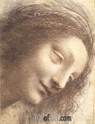 Head of the Virgin, c.1508/12 | Leonardo da Vinci | Painting Reproduction