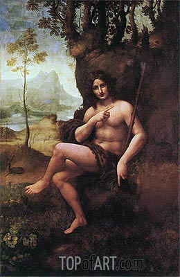 St John the Baptist (with the Attributes of Bacchus), c.1513/19 | Leonardo da Vinci | Painting Reproduction