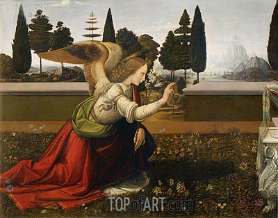 The Annunciation (Detail of Angel), c.1472/75 | Leonardo da Vinci | Painting Reproduction