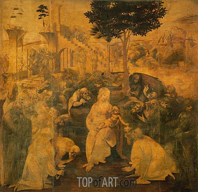 Adoration of the Magi, 1481 | Leonardo da Vinci | Gemälde Reproduktion