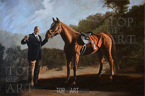 Pie-O-My (Tony Soprano with Horse), Undated | Custom Paintings | Gemälde Reproduktion