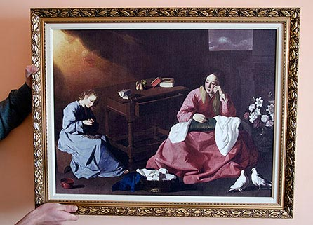 """Framed painting """"Christ and the Virgin in the House at Nazareth"""" by Zurbaran"""