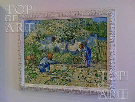"Framed painting reproduction ""First Steps"" by van Gogh"