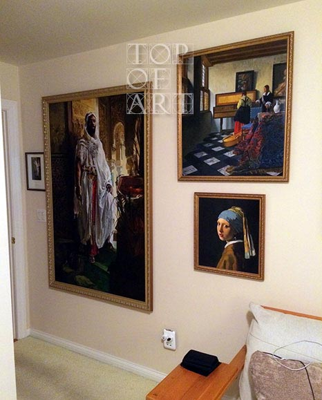 Vermeer Painting Reproduction - framed and hanged on the wall