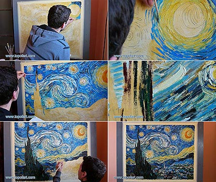 Starry Night by Vincent van Gogh - Painting Reproduction. Process of Painting - Step by Step in Images