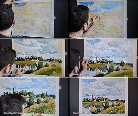 The Oise on the Outskirts of Pontoise by Pissarro - Painting Reproduction