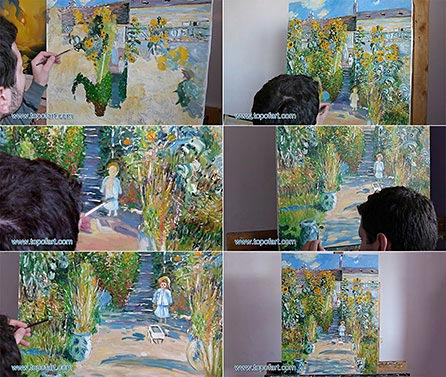 The Monet Garden at Vetheuil - Painting Reproduction