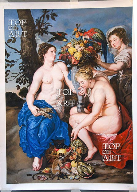 Ceres with Two Nymphs, c.1624 | Rubens | Painting Reproduction by TOPofART
