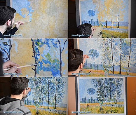 Under the Poplars, Sunlight Effect by Monet - Oil Painting Reproduction