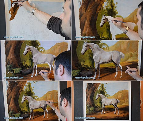 A Grey Stallion in a Landscape by Stubbs - Oil Painting Reproduction