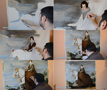 Queen Isabel de Bourbon on Horseback by Velazquez - Painting Reproduction
