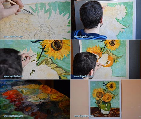 Three Sunflowers in a Vase by van Gogh - Painting Reproduction