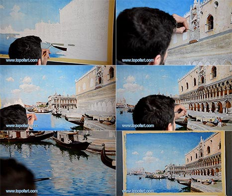 The Grand Canal by Federico del Campo - Painting Reproduction