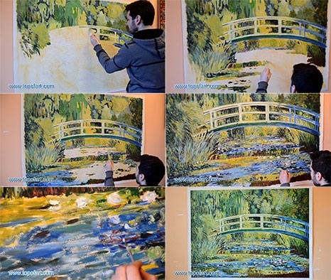 Water Lily Pond by Monet - Painting Reproduction