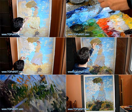 Woman with a Parasol by Monet - Painting Reproduction