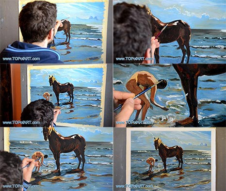 Bathing of a Horse by Serov - Painting Reproduction