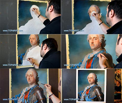 Portrait of Louis XV of France by Maurice de La Tour - Painting Reproduction
