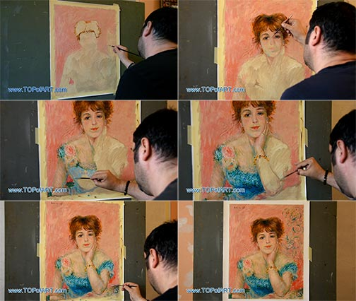 Day-Dreaming by Renoir - Painting Reproduction
