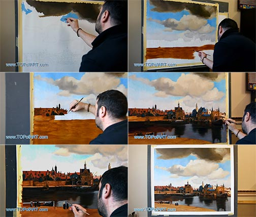 View of Delft by Vermeer - Painting Reproduction