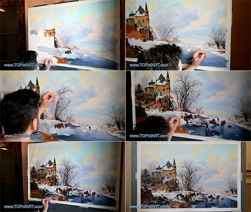 Winter Landscape with Skaters in front of a Castle by Frederik Marinus Kruseman - Painting Reproduction